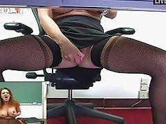 Busty MILF teacher masturbates in sexy black stockings