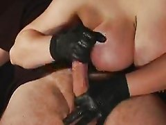 Big Tits, Black Gloves, Sloppy Handjob