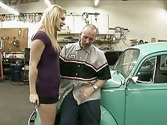 Cock craving Ally Ann gets her crack crammed in a car garage