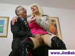 Blonde masturbating for old man