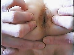 Naked skinny guy on bed with big cumshot