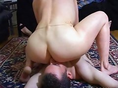 Naked oldie mistress is pleasured as she gets her ass cleaned