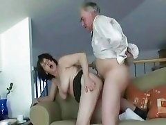 Hot granny slut bends over and takes old cock