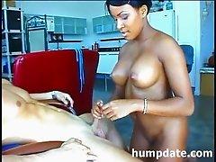 Sexy exotic girlfriend gives hot handjob