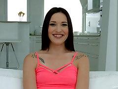 Backstage with a brunette amateur tattooed cutie Mina Medina