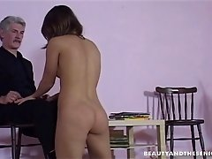 Beautiful girl blows an old man and sits on his dick
