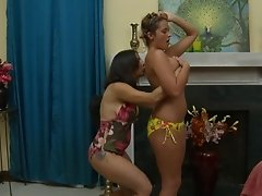 Curvy housewives cheat on their hubbies by having a hot lesbian affair