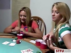 Hot coeds with curvaceous body does filthy things with poker game
