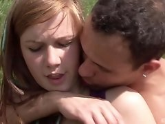 Long haired redhead Alexis Crystal loves riding cock outdoors