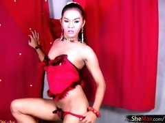 Cute shemale tranny dancing while in red