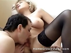 Busty blonde in stockings gets her pussy licked and fucked missionary