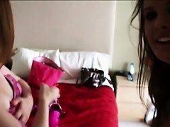 Two slutty amateurs sharing boyfriend in the bedroom