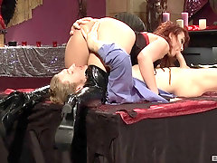 Redhead MILF nympho Nikki Hunter blows, rides and swallows cum