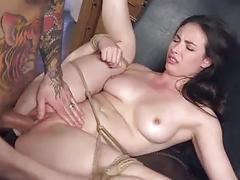 Bondage slut receives hard anal penetration from freaky BDSM master