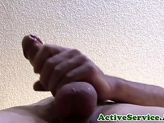 Inked solo military guy whips his dick out