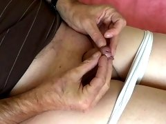 Shaved small dick masturbation in pantyhose transparent