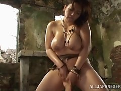 Busty Asian MILF gives BJ and fucked in hardcore oiled bang session