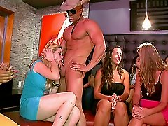 Girls Feasting On Stripper's Cock.