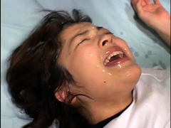 Wild Japanese teen gets her pretty face covered in hot cum