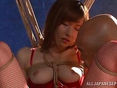 Fantastic bondage sex action featuring Japanese babe in stockings