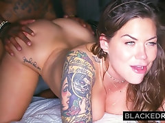 Marvelous ebony fellow with tats is humping a sugary-sweet, milky hoe in a motel apartment