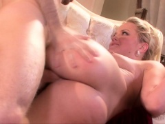Busty blonde milf has a young stud drilling her wet pussy