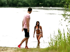 Riding a stiff dick by the lake makes Evelyn happier than anything