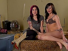 Lean body hottie with tattoos goes down on pornstar Joanna Angel