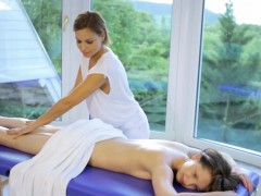 Steamy lesbian massage gets hot