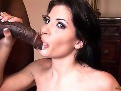 Seductive brunette Latina Rebeca Linares swallows a black guys load