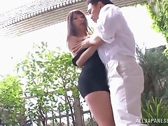 Blazing Asian cougar in a miniskirt giving a steamy blowjob before getting drilled hardcore