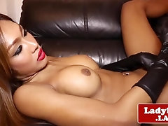Solo ladyboy beauty stroking cock with gloves