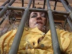 Slutty slave left in the cage to suffer BDSM movie