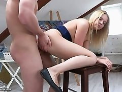 Whorable blond haired nympho Angel Yanika gets her anus hammered
