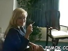 Provocative slut smoking