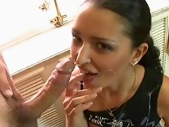 Brunette in black fishnet stockings has her pussy stuffed with dick