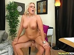 Delicious blond mom with juicy tits blows tasty schlong greedily