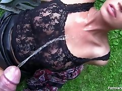 After Pissing Outdoors She Sucked Cock and Got Fucked and Got Peed On