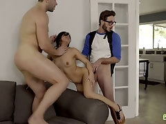 Emotional chick with natural tits Jasmine Gomez is hammered by two dudes