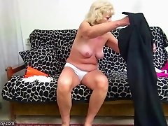 Blonde granny gets spanked and fucked hard from behind
