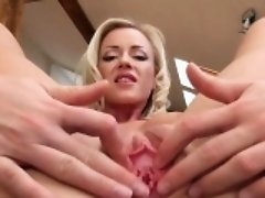 Funny kitchen dildo in her opened vagina