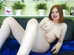 All-Natural ginger-haired nubile furry coochie stretching and massaging