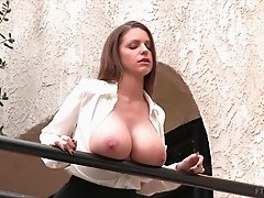 Outdoor tit flashing and masturbation with a sexy brunette