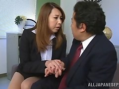 Asian milf Yumi Kazama rides a cock after getting her tits kneaded
