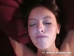 One of the hottest amateur clips in which dude cum on gf's face