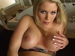 Delectable and tender busty blondie Jamie Brooks fingering herself