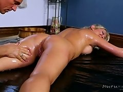 Oiled up busty blondie Lexi Lowe had steamy sex with brutal rubber in massage parlor