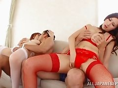 Japanese cowgirls with big tits pounded in hot foursome sex