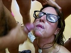 Dirty brunette harlot in glasses Nata Lee gets messy facial