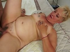Hairy cunt of lustful granny Leila is pounded deep and rough